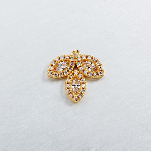 925 sterling silver cz leaf charms