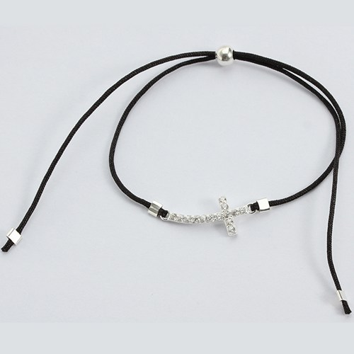 925 sterling silver cz cross cord bracelet