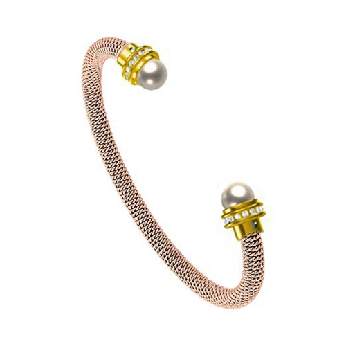 925 sterling silver pearl cz mesh adjustable bangle