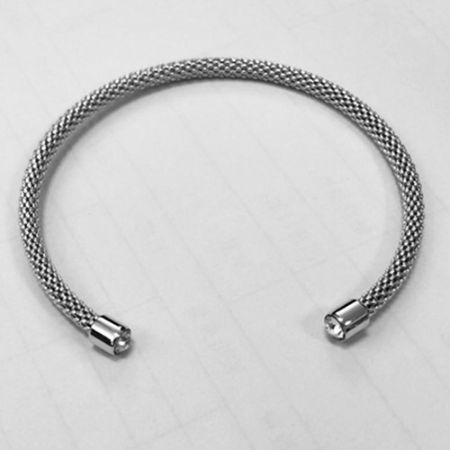 925 sterling silver cz mesh bangle
