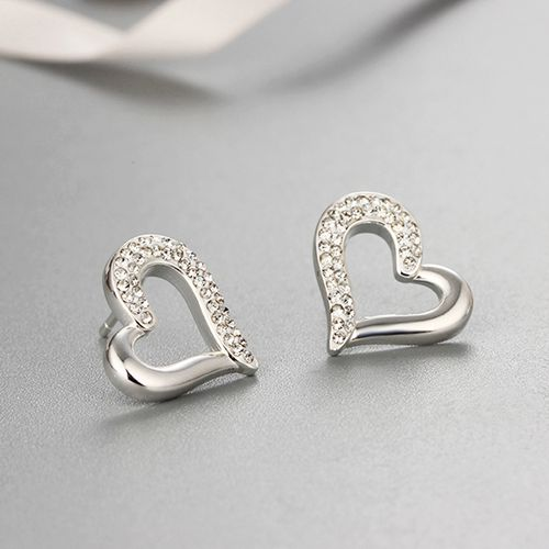 925 sterling silver crystal heart stud earrings