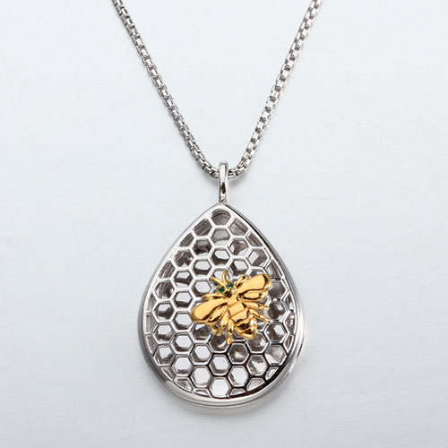 925 sterling silver bee honeycomb diffuser locket