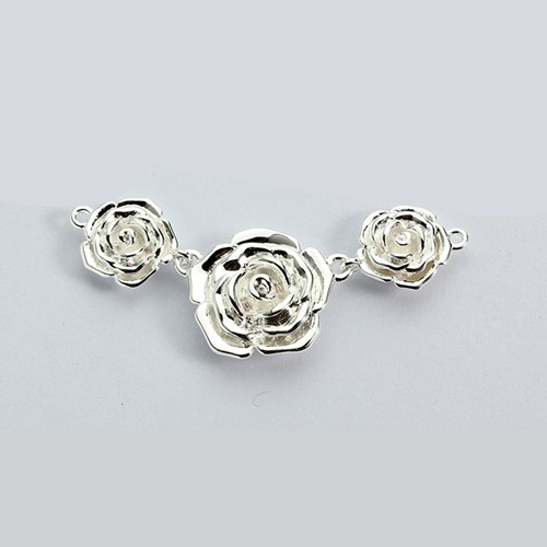 925 sterling silver three rose flowers connector charm