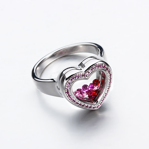 Sterling silver cz glass heart locket rings