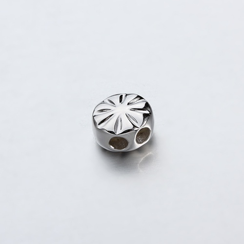 925 sterling silver flower round slider beads -9mm