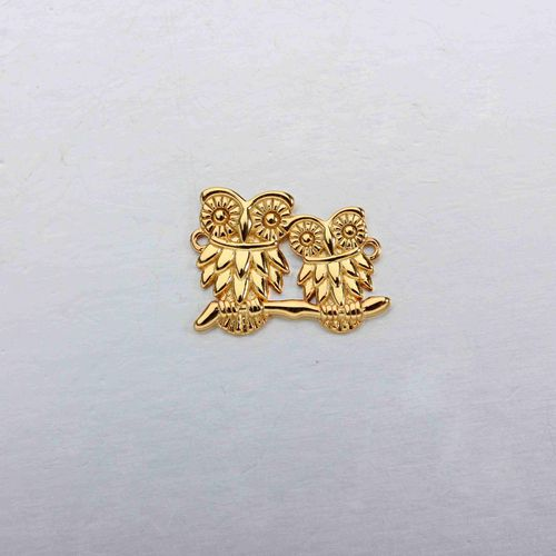 925 sterling silver owls connector charm -smaller size