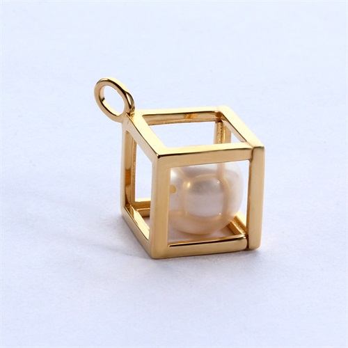925 sterling silver pearl cube cage pendant