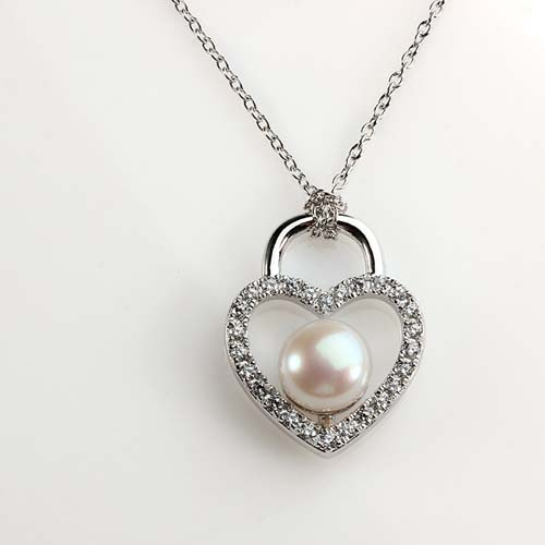 925 sterling silver cz pearl heart pendant