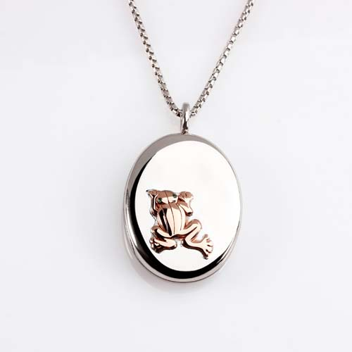 925 sterling silver frog locket