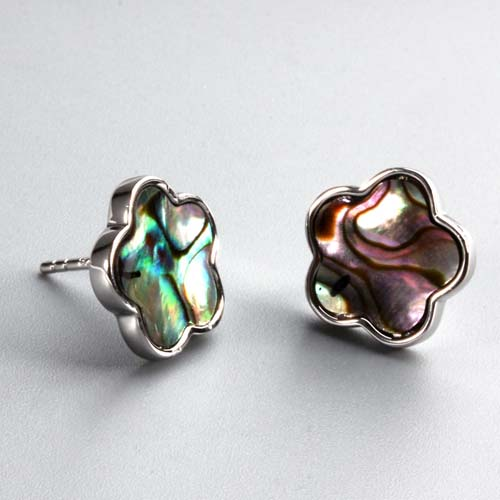 925 sterling silver abalone shell flower stud earrings