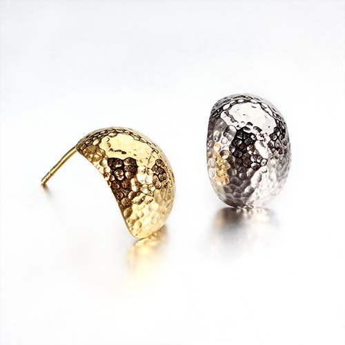925 sterling silver hammered stud earring