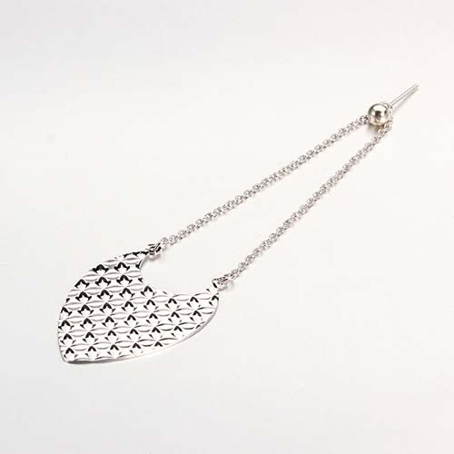 925 sterling silver long chain cutting leaf earrings