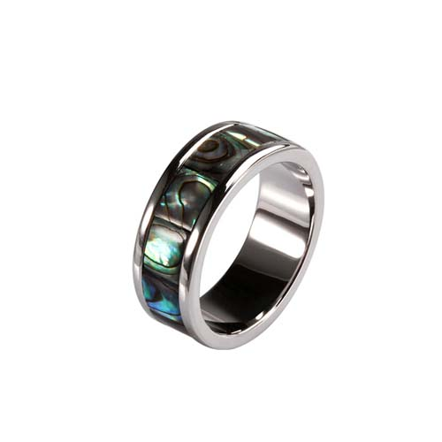 Sterling silver abalone shell band rings