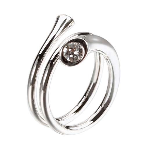 925 sterling silver crystal layered adjustable ring