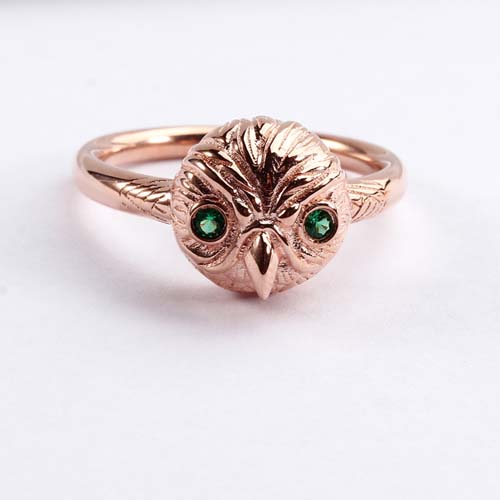 925 sterling silver cz animal owl ring