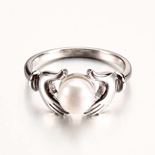 Wholesale 925 sterling silver pearl hand ring