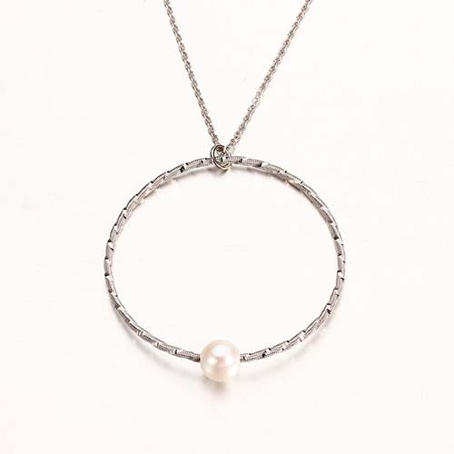 925 sterling silver minimalist pearl circle pendant