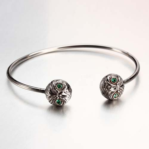 925 sterling silver cz owl cuff bracelet bangle