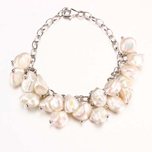 Baroque pearls 925 silver statement bracelet