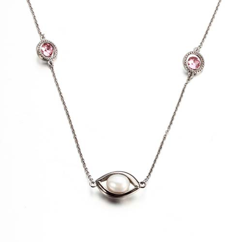 Sterling silver crystal rice pearl eye necklace