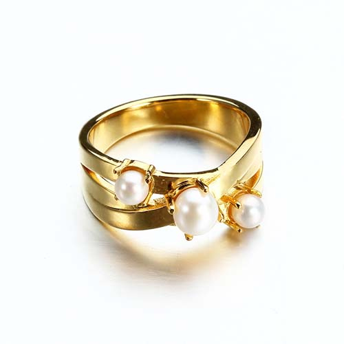 925 sterling silver pearls wide band ring