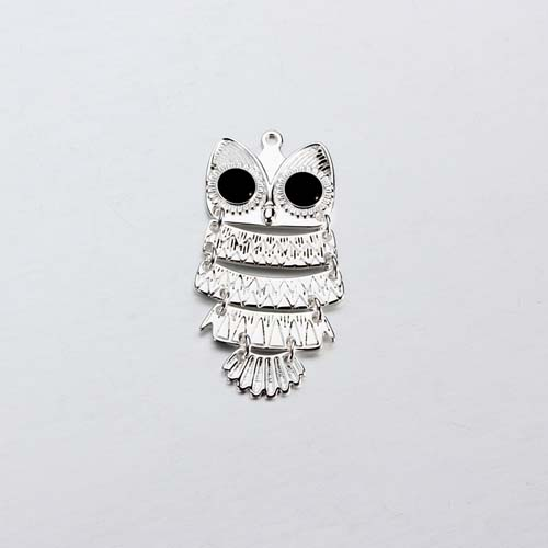 925 sterling silver enamel flexible owl charm