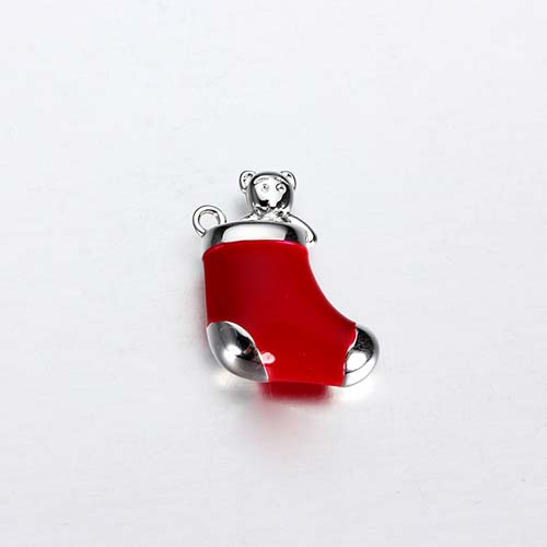 Christmas stocking 925 silver enamel charms