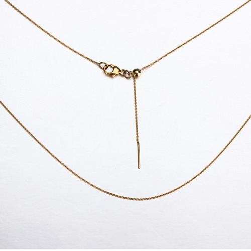 18k gold cable chain slider necklace -0.2mm