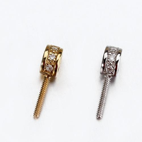18k gold diamond screw pendant bail