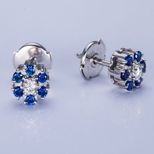 18k gold blue sapphire damond flower earrings