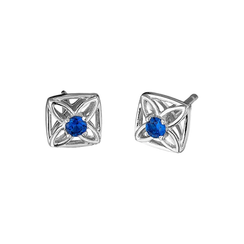 18k gold blue sapphire stud earrings