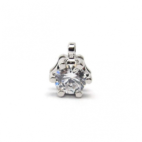 18k gold diamond solitaire pendant -5.5mm