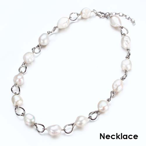 Sterling silver baroque pearls link necklace