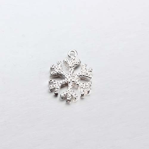 925 sterling silver hammered snowflake charms -12mm