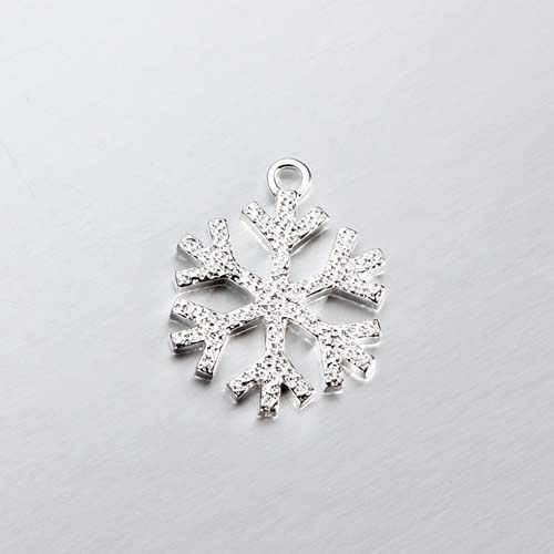 925 sterling silver hammered snowflake charms -18mm