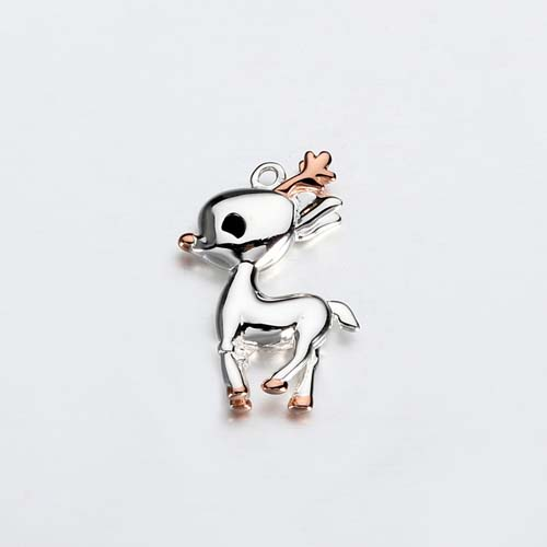 925 sterling silver solid 3d cute deer charm