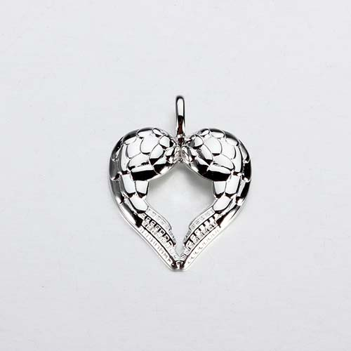 925 sterling silver heart shape wings charm