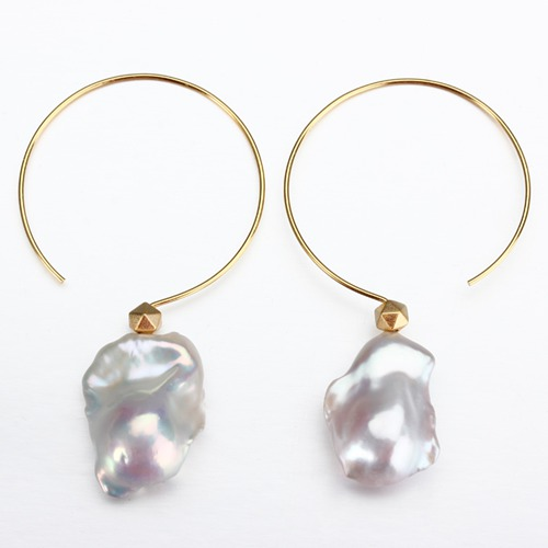 925 sterling silver large baroque pearl wire earrings