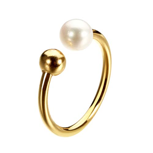 925 sterling silver pearl bead cuff ring