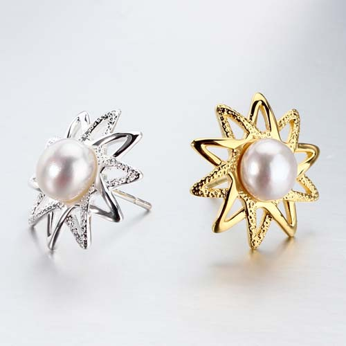 Sterling silver pearl sun stud earrings