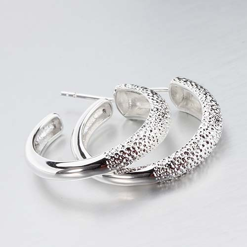 925 sterling silver hammered hoop earrings