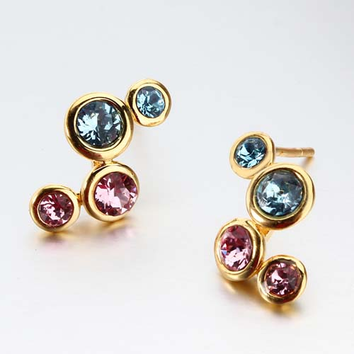 Sterling silver multi-color cubic zirconia stud earrings