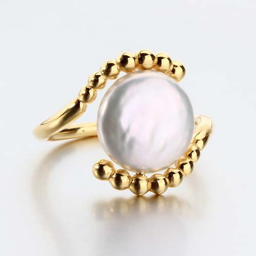 925 sterling silver coin pearl ring