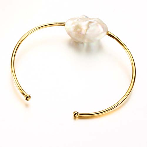 925 sterling silver large baroque pearl cuff bangle