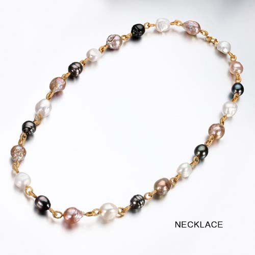 Sterling silver multi-color baroque pearl strand necklace