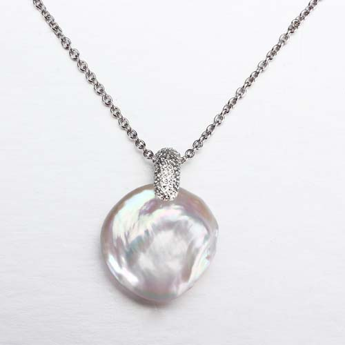 Baroque pearl 925 silver hammered bail pendant