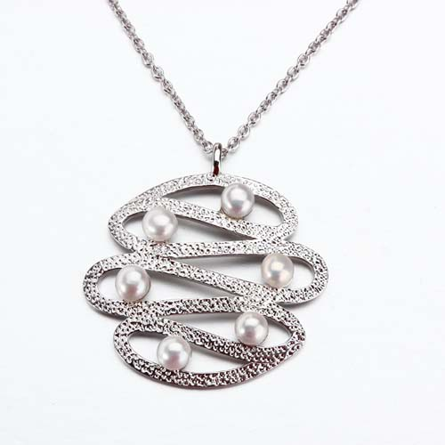 925 sterling silver pearls hammered pendant