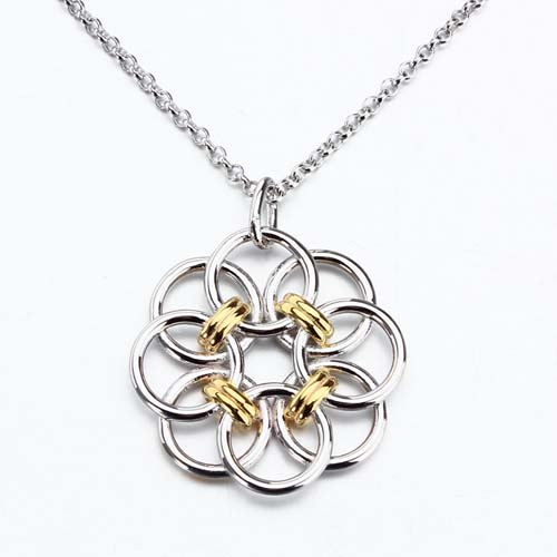 Two-tone 925 sterling silver hollow flower pendant