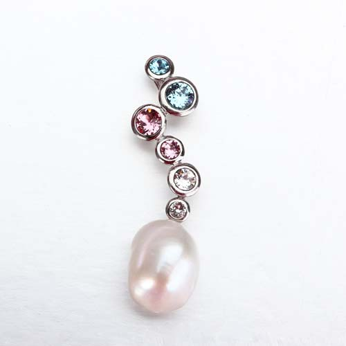 Sterling silver colorful cz baroque pearl pendant