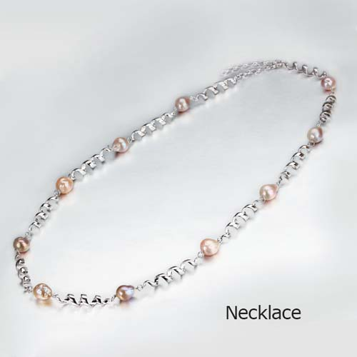 925 sterling silver pink baroque pearl spiral necklace